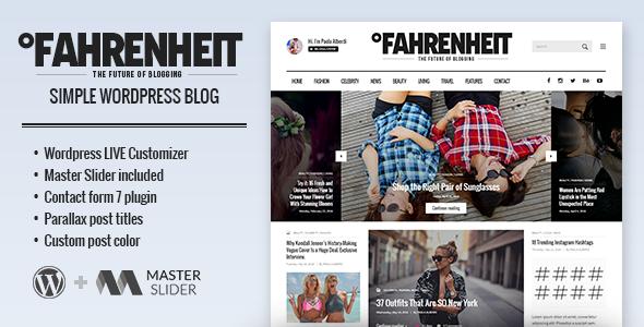 Fahrenheit - Responsive Personal WordPress Blog Theme - Personal Blog / Magazine