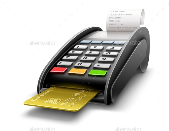 Bank Terminal for Payments by Card Processing - Man-made Objects Objects