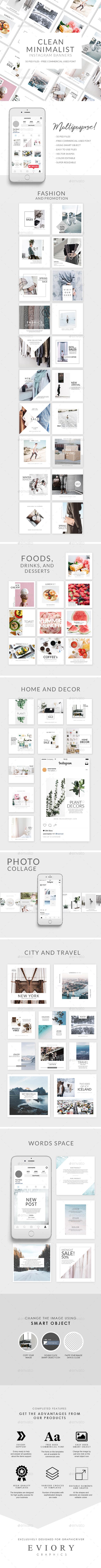 Clean Minimalist Instagram Banner - Banners & Ads Web Elements
