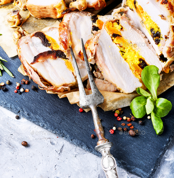 Sliced grilled pork barbecue - Stock Photo - Images