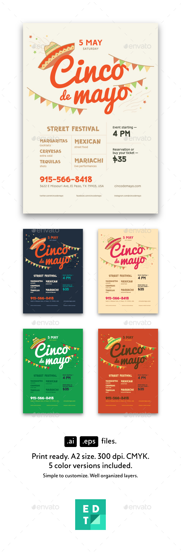 Cinco De Mayo Poster Template - Holidays Events