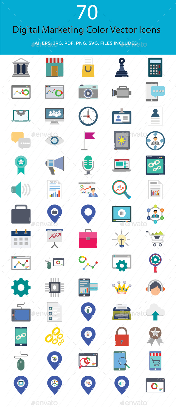 Digital Marketing Color Vector Illustration Icons - Icons