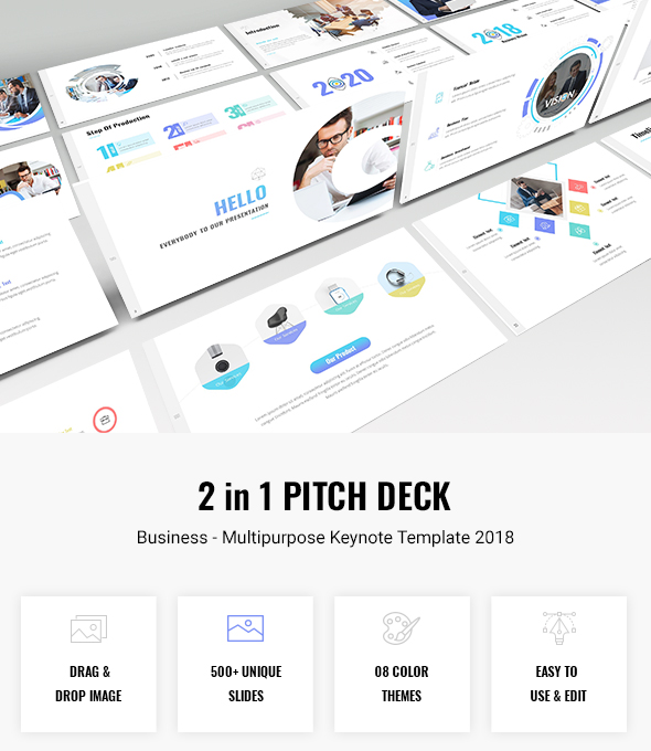 Bundle 2 in 1 Pitch Deck - Multipurpose Keynote Template 2018 - Business Keynote Templates