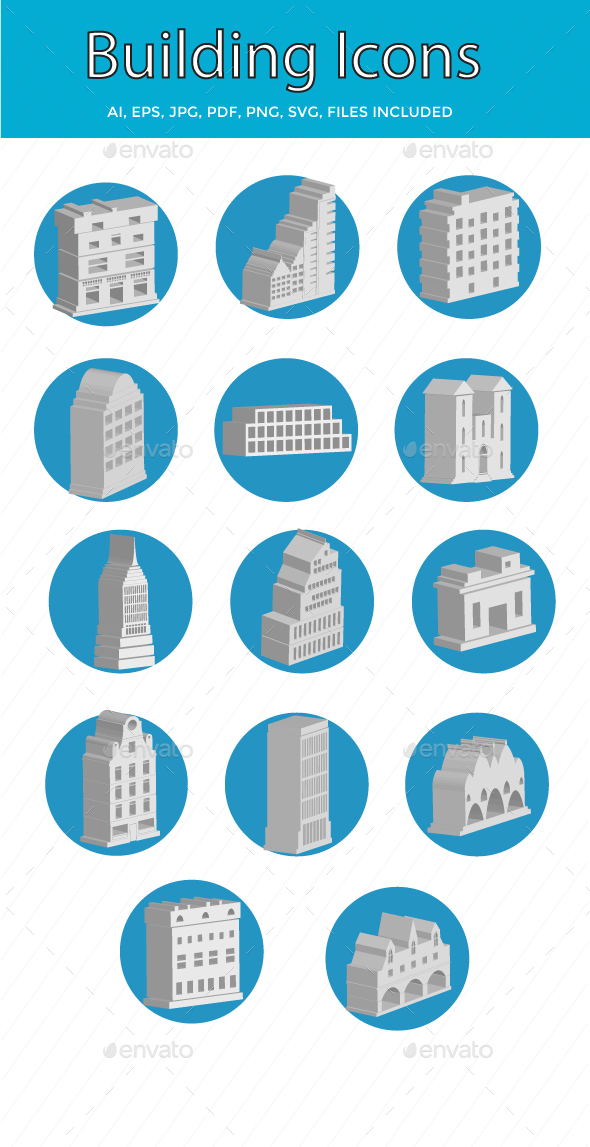 Buildings and Landmark Vector Icons Set - Icons