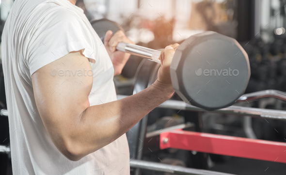 Strong men are exercising with barbels. - Stock Photo - Images