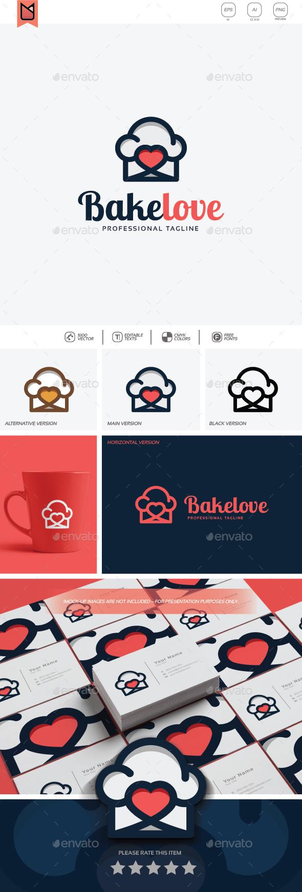 Bake Love Logo - Food Logo Templates