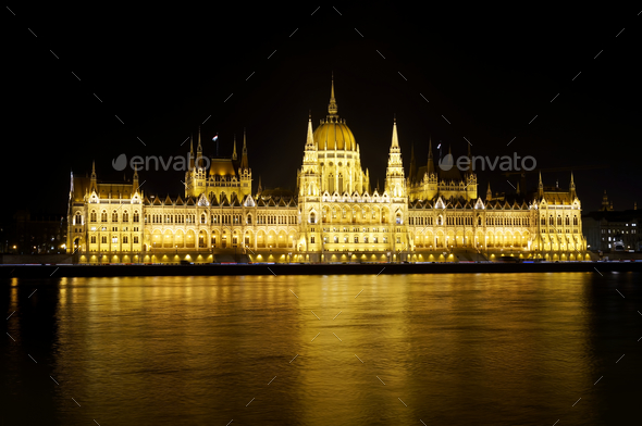 Hungarian Parliament building, night view - Stock Photo - Images