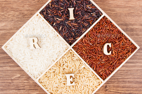 White, brown, black and red rice with inscription, healthy, gluten free nutrition concept - Stock Photo - Images