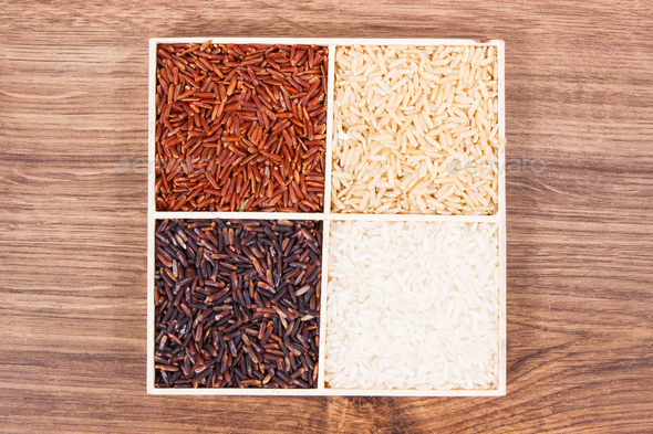 White, brown, black and red rice, healthy, gluten free nutrition concept - Stock Photo - Images