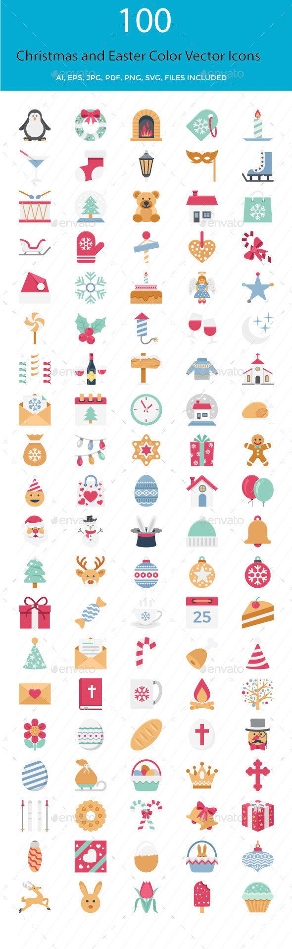Christmas and Easter Color Vector Icons - Icons