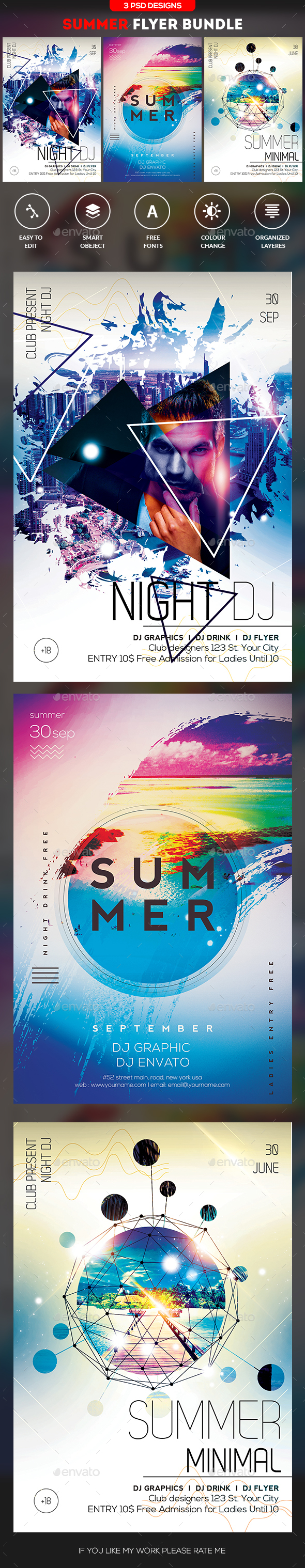 Summer Flyer Bundle - Flyers Print Templates