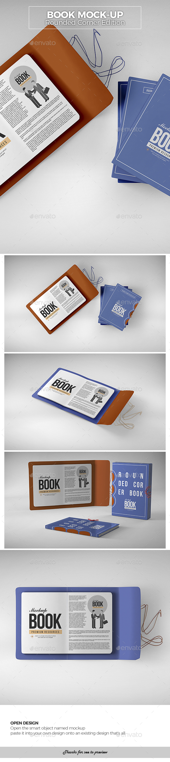 Book Mock-Up / Rounded Corner Edition - Books Print