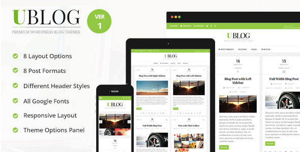 UBlog - Responsive WordPress Theme for Bloggers - Personal Blog / Magazine