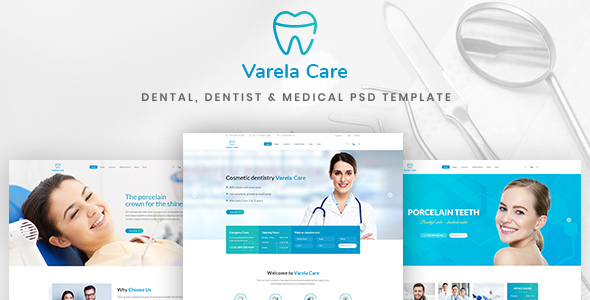 Varela Care – Dental, Dentist & Medical PSD Template