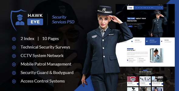 Hawkeye – Security Service PSD Template