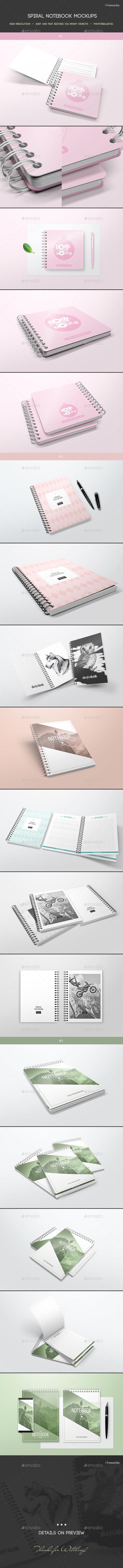 Spiral Notebook Mockups - Books Print