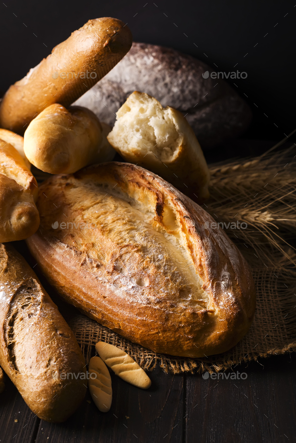 ASSORTED SELECTION OF FRESH BREAD LOAVES AND ROLLS - Stock Photo - Images