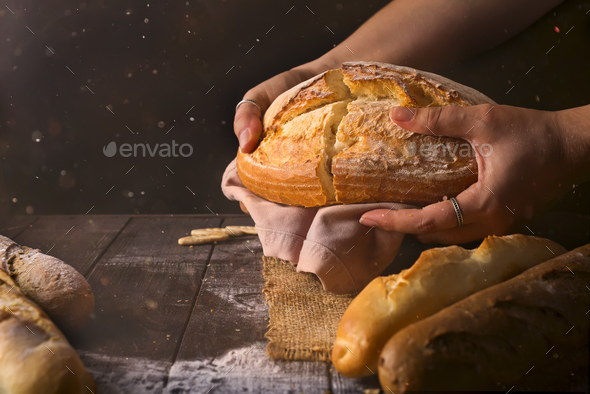 Loaf of fresh baked wheat bread in woman's hands in sunshine. Rustic day light in dark room. - Stock Photo - Images