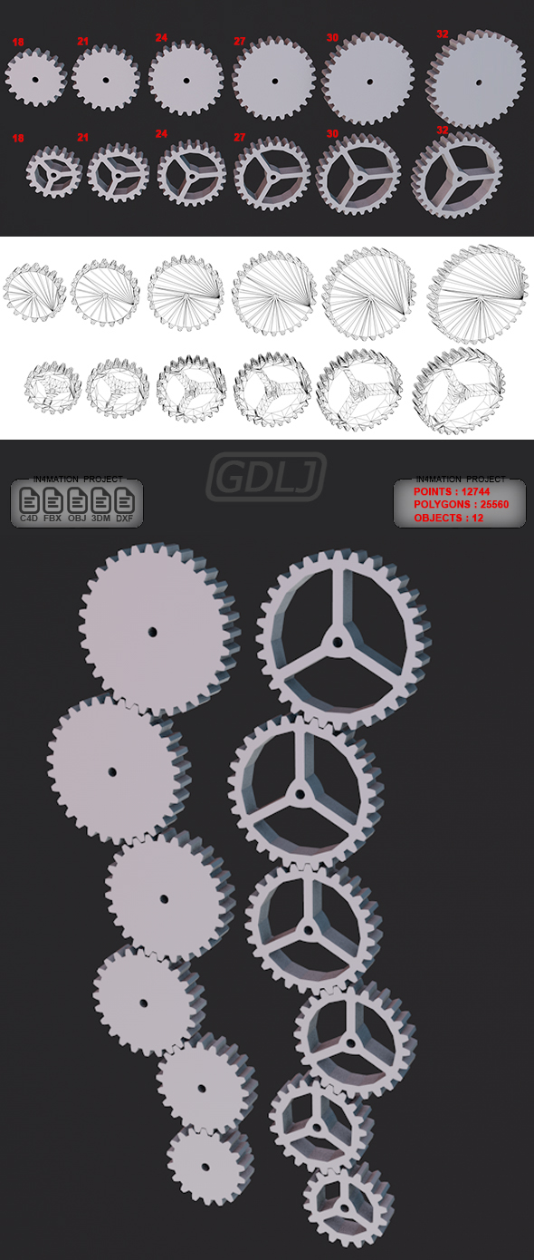 12 Gears - Various sizes and types - 3DOcean Item for Sale