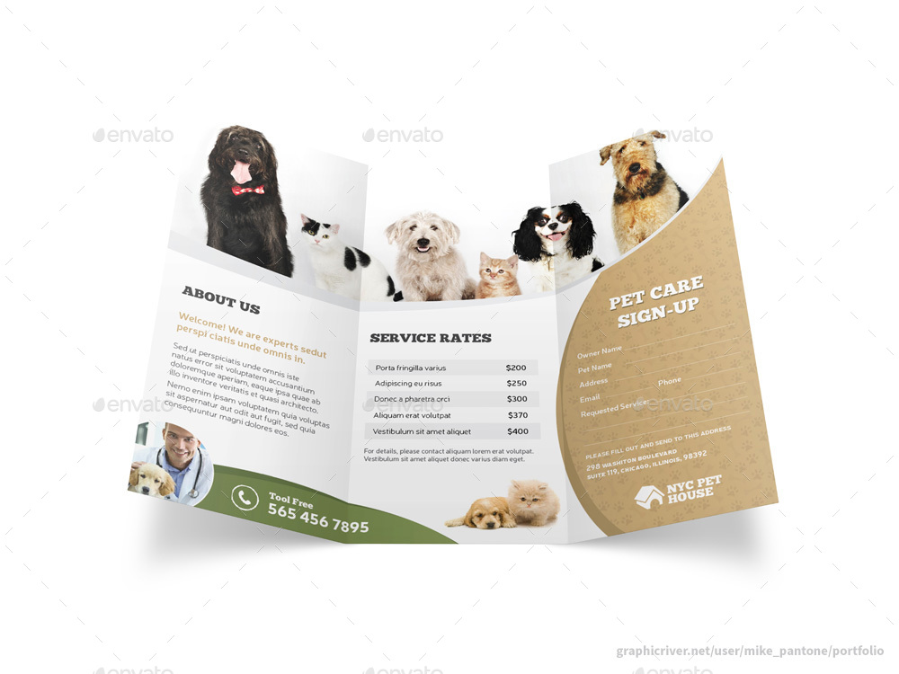 pet and animal care trifold brochure by mike pantone