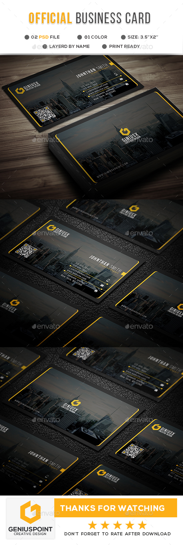 Official Corporate Business Card - Corporate Business Cards