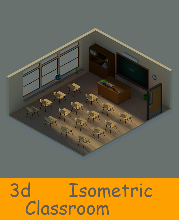 Isometric Classroom - 3DOcean Item for Sale
