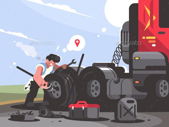 Truck Driver Repairing Car - People Characters