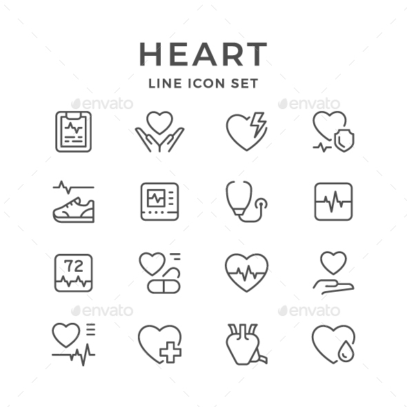 Set Line Icons of Heart - Man-made objects Objects