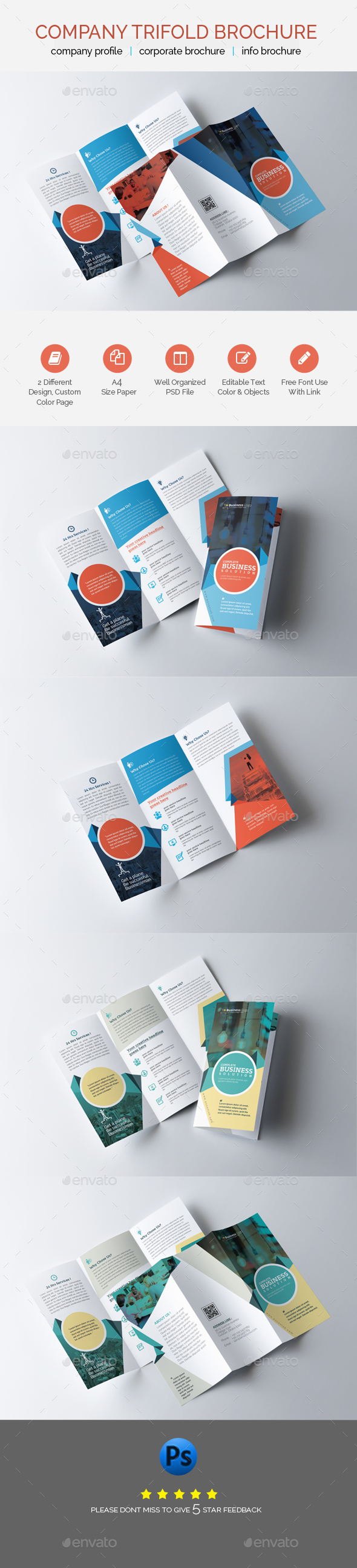 Professional Business Trifold Brochure Template - Brochures Print Templates