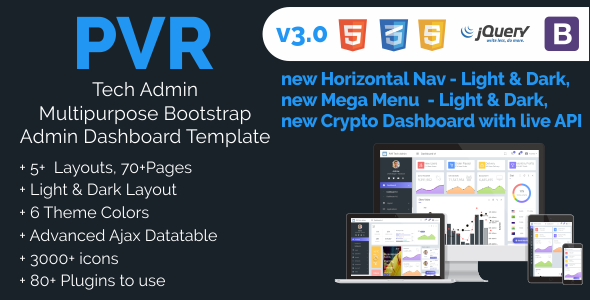 Image of PVR Tech Admin Multipurpose Bootstrap Responsive Template with Crypto Dashboard