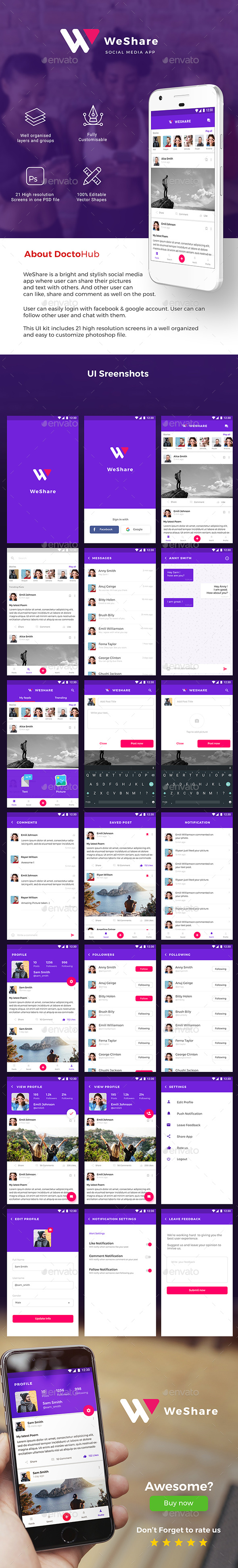 Social Media App UI Kit for Andoird & iOS | WeShare - User Interfaces Web Elements
