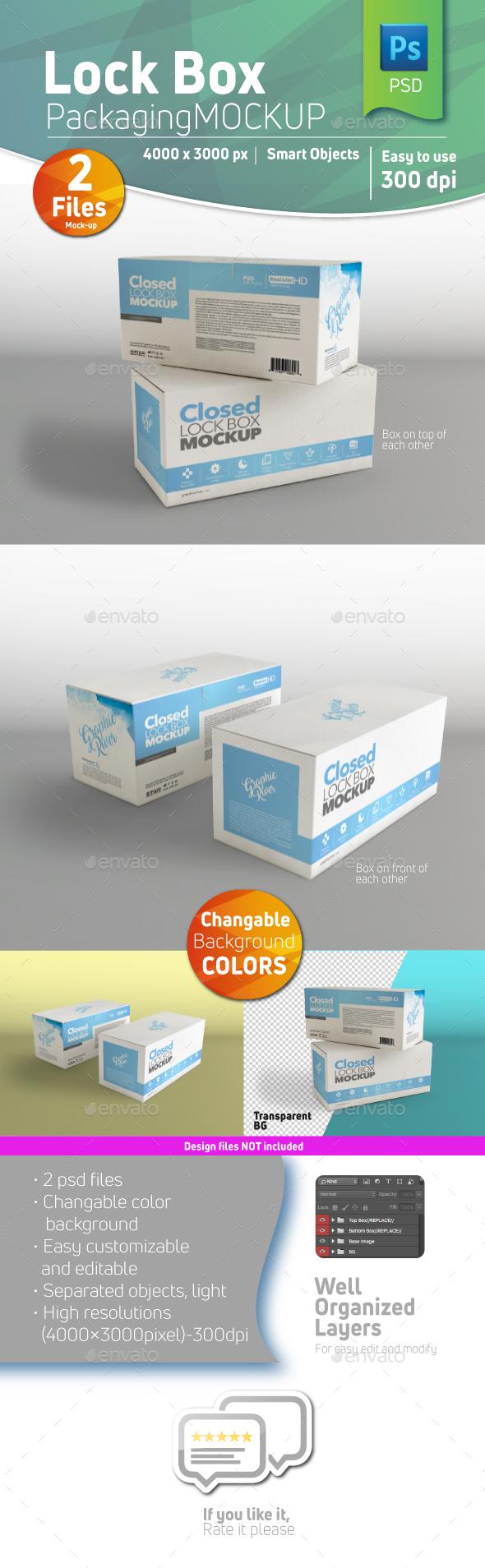 Cardboard Closed Lock Box Mockup - Product Mock-Ups Graphics