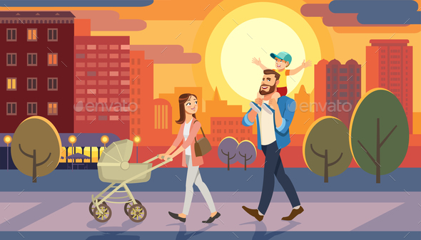 Family Walking with Baby Car at City Sunset. Fun Lifestyle of Cartoon Characters at Cityscape Street - People Characters