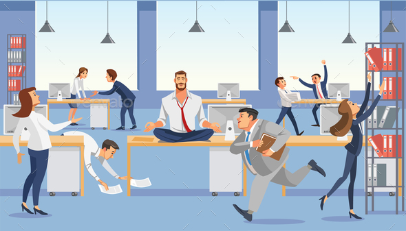Business Man Sit on Table in Office. Calm in Meditation Relax. Stressed Vector Cartoon Characters. - People Characters