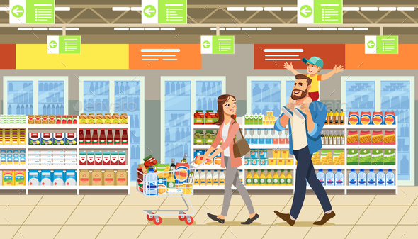 Family Shopping in Supermarket With Product Cart. Fun Cartoon Characters. Parents and Child at Shop - People Characters