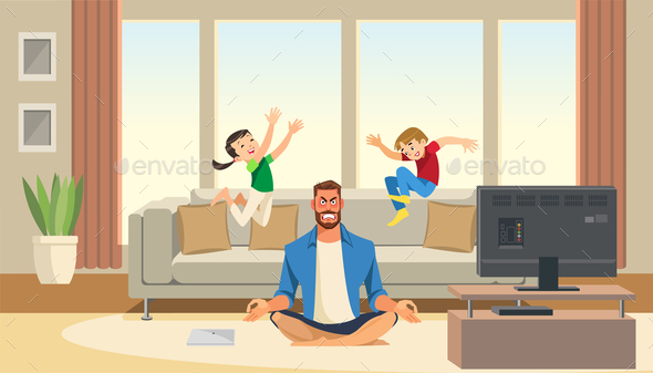 Children Play and Jump on Sofa Behind Angry and Stressed Meditation Father. Cartoon Characters Home. - People Characters