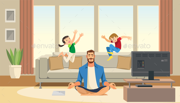 Children Play and Jump on Sofa Behind Calm and Relaxing Meditation Father. Cartoon Characters Home. - People Characters