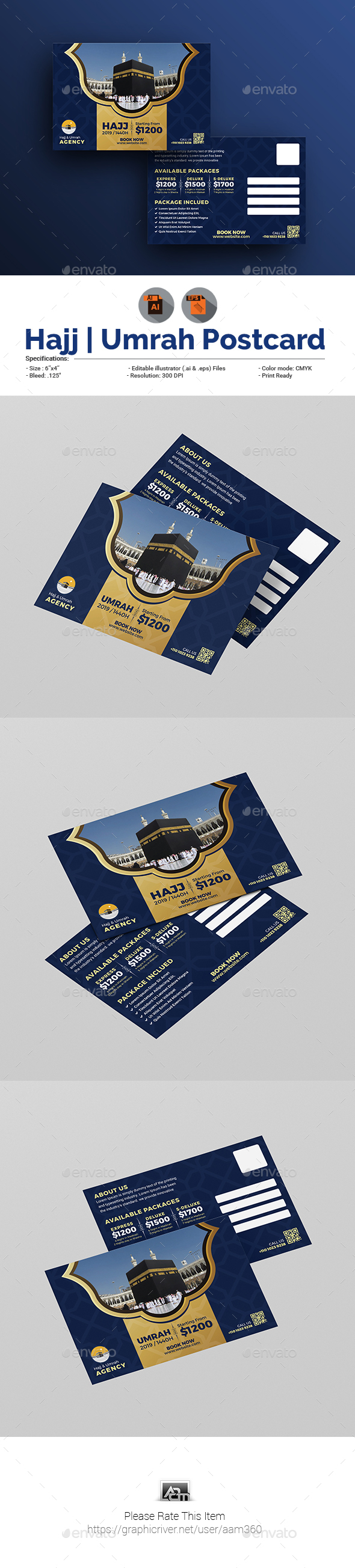 Hajj/Umrah Postcard template - Cards & Invites Print Templates