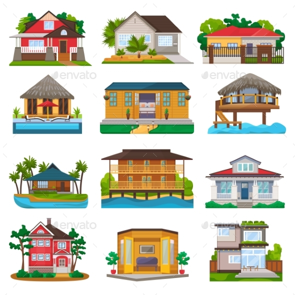 Villa Vector Facade of House Building and Tropical - Seasons/Holidays Conceptual