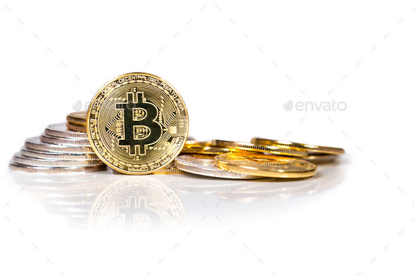Conceptual cryptocurrency bitcoin on white background - Stock Photo - Images