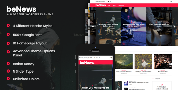 beNews - Magazine WordPress Theme - News / Editorial Blog / Magazine