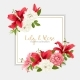 Rose and Lily Wedding Invittion. Vector Card. - GraphicRiver Item for Sale