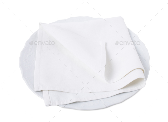 Kitchen towel on porcelain plate. - Stock Photo - Images
