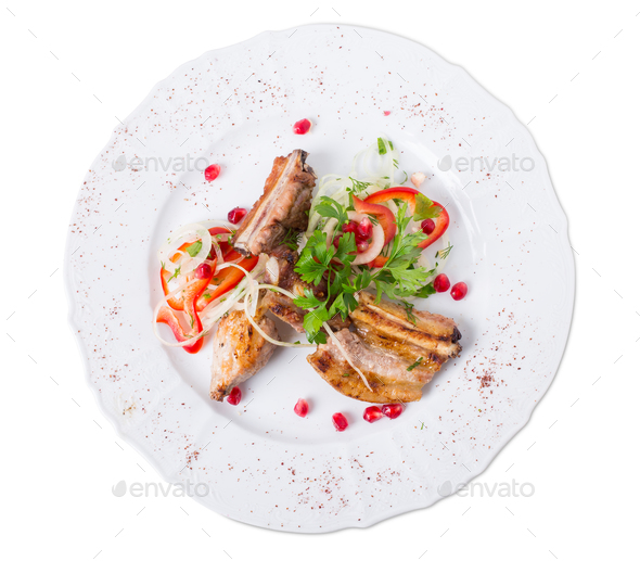 Grilled lamb racks in eastern style. - Stock Photo - Images