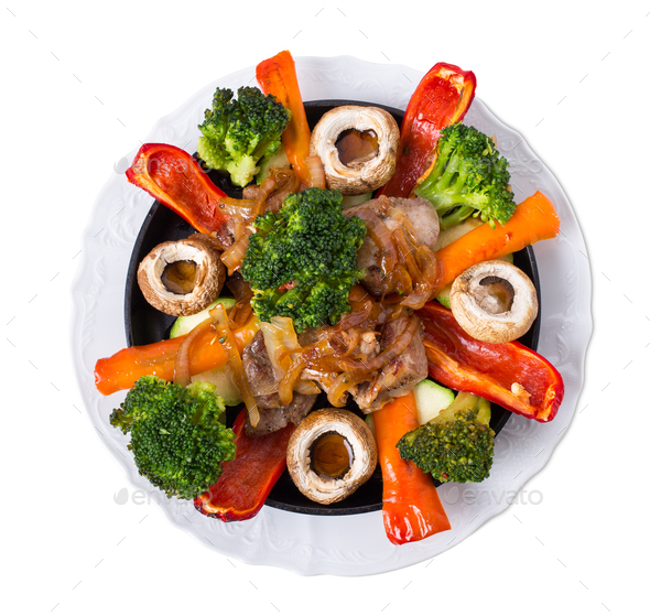 Grilled pork shish kebab with delicious vegetables. - Stock Photo - Images