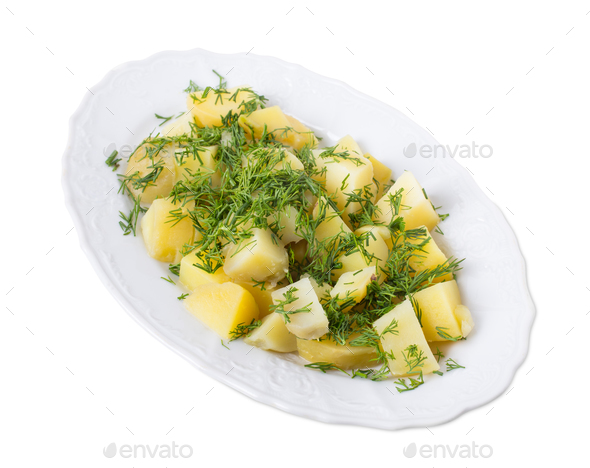 Delicious potatoes with minced dill. - Stock Photo - Images