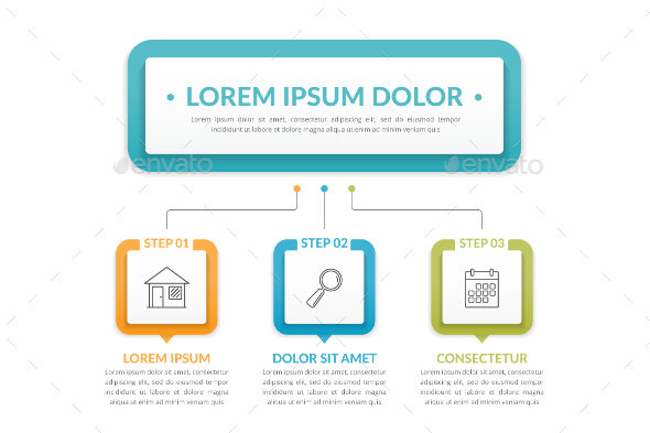 Infographic Template with Three Steps - Infographics