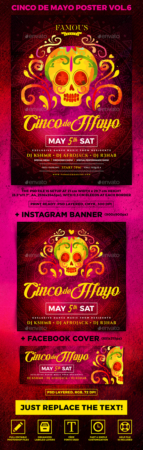 Cinco de Mayo Party Poster vol.6 - Holidays Events