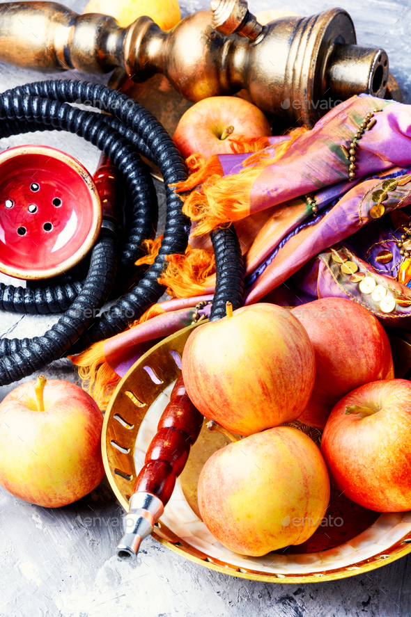 hookah with apple for relax - Stock Photo - Images
