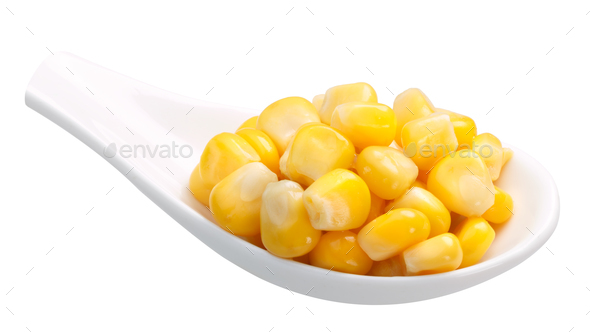 Spoon of canned sweet corn, paths - Stock Photo - Images